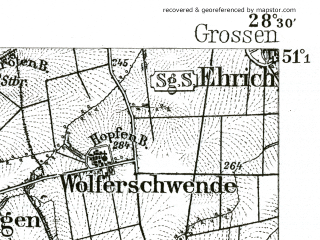 Reduced fragment of topographic map de--kdr--100k--411--(1892)--N051-15_fE028-00--N051-00_fE028-30; towns and cities Muhlhausen, Bad Langensalza
