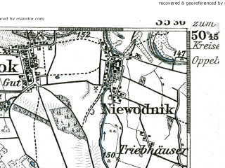 Reduced fragment of topographic map de--kdr--100k--476--(1889)--N050-45_fE035-00--N050-30_fE035-30; towns and cities Grodkow