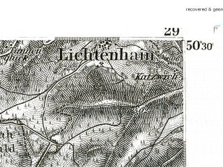 Reduced fragment of topographic map de--kdr--100k--490--(1893)--N050-30_fE028-30--N050-15_fE029-00; towns and cities Coburg, Sonneberg