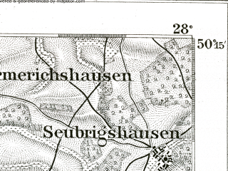Reduced fragment of topographic map de--kdr--100k--510--(1893)--N050-15_fE027-30--N050-00_fE028-00; towns and cities Schweinfurt, Bad Kissingen, Hammelburg