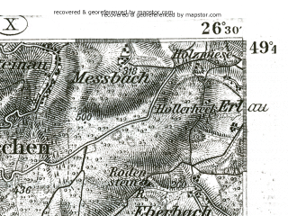 Reduced fragment of topographic map de--kdr--100k--544--(1893)--N049-45_fE026-00--N049-30_fE026-30; towns and cities Worms, Bensheim, Frankenthal, Weinheim