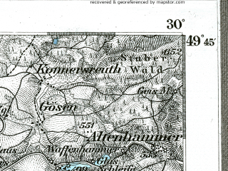 Reduced fragment of topographic map de--kdr--100k--551--(1893)--N049-45_fE029-30--N049-30_fE030-00; towns and cities Weiden, Grafenwohr