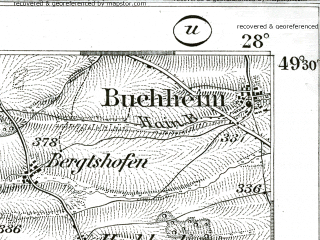 Reduced fragment of topographic map de--kdr--100k--561--(1893)--N049-30_fE027-30--N049-15_fE028-00; towns and cities Rothenburg Ob Der Tauber