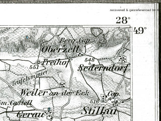 Reduced fragment of topographic map de--kdr--100k--592--(1895)--N049-00_fE027-30--N048-45_fE028-00; towns and cities Aalen, Ellwangen