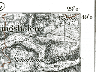 Reduced fragment of topographic map de--kdr--100k--594--(1893)--N049-00_fE028-30--N048-45_fE029-00; towns and cities Eichstatt