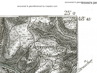 Reduced fragment of topographic map de--kdr--100k--601--(1893)--N048-45_fE024-30--N048-30_fE025-00 in area of Etang De Gondrexange; towns and cities Sarrebourg