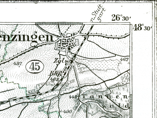 Reduced fragment of topographic map de--kdr--100k--618--(1893)--N048-30_fE026-00--N048-15_fE026-30; towns and cities Freudenstadt