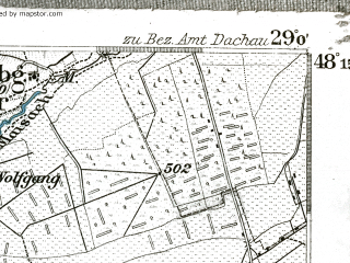 Reduced fragment of topographic map de--kdr--100k--637--(1901)--N048-15_fE028-30--N048-00_fE029-00 in area of Worthsee; towns and cities Furstenfeldbruck, Landsberg
