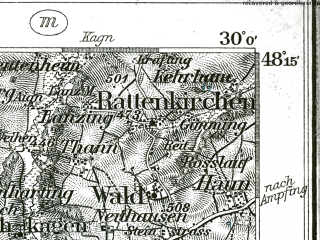 Reduced fragment of topographic map de--kdr--100k--639--(1896)--N048-15_fE029-30--N048-00_fE030-00; towns and cities Wasserburg
