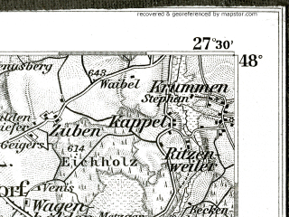 Reduced fragment of topographic map de--kdr--100k--647--(1896)--N048-00_fE027-00--N047-45_fE027-30; towns and cities Ravensburg, Bad Waldsee
