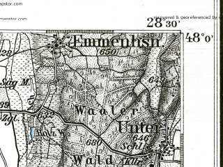 Reduced fragment of topographic map de--kdr--100k--649--(1893)--N048-00_fE028-00--N047-45_fE028-30; towns and cities Kaufbeuren