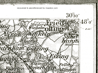 Reduced fragment of topographic map de--kdr--100k--653--(1895)--N048-00_fE030-00--N047-45_fE030-30 in area of Chiemsee, Waginger See, Tachinger See; towns and cities Traunstein