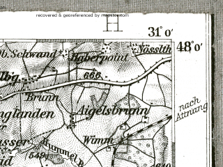Reduced fragment of topographic map de--kdr--100k--654--(1896)--N048-00_fE030-30--N047-45_fE031-00 in area of Wallersee, Obertrumer See, Zeller See; towns and cities Salzburg, Mondsee, Strasswalchen