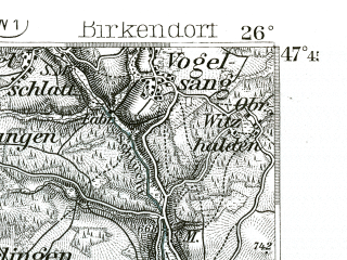 Reduced fragment of topographic map de--kdr--100k--657--(1893)--N047-45_fE025-30--N047-30_fE026-00 in area of Wohlensee; towns and cities Waldshut, Bad Sackingen, Frick