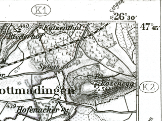 Reduced fragment of topographic map de--kdr--100k--658--(1901)--N047-45_fE026-00--N047-30_fE026-30; towns and cities Schaffhausen