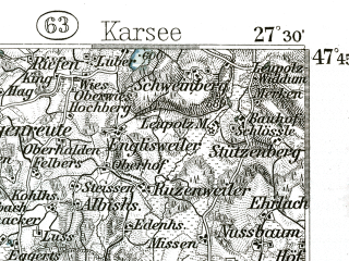 Reduced fragment of topographic map de--kdr--100k--660--(1897)--N047-45_fE027-00--N047-30_fE027-30; towns and cities Friedrichshafen, Bregenz, Lindau, Romanshorn, Wangen