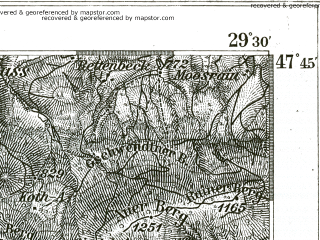 Reduced fragment of topographic map de--kdr--100k--664--(1893)--N047-45_fE029-00--N047-30_fE029-30 in area of Tegernsee; towns and cities Tegernsee
