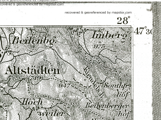 Reduced fragment of topographic map de--kdr--100k--670--(1901)--N047-30_fE027-30--N047-15_fE028-00; towns and cities Oberstdorf