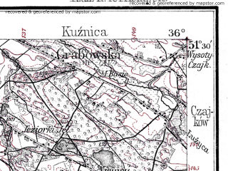 Reduced fragment of topographic map de--kdr--100k--B36--(1914)--N051-30_fE035-30--N051-15_fE036-00; towns and cities Ostrzeszow, Wieruszow