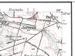 Reduced fragment of topographic map de--kdr--100k--B37--(1914)--N051-15_fE035-30--N051-00_fE036-00; towns and cities Wolczyn
