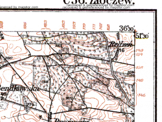 Reduced fragment of topographic map de--kdr--100k--C36--(1916)--N051-30_fE036-00--N051-15_fE036-30; towns and cities Zloczew