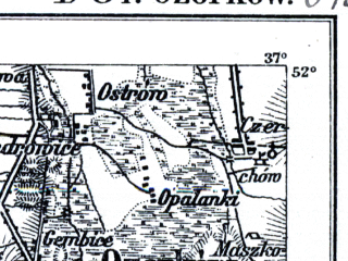 Reduced fragment of topographic map de--kdr--100k--D34--(1914)--N052-00_fE036-30--N051-45_fE037-00; towns and cities Ozorkow, Aleksandrow Lodzki, Poddebice