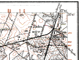 Reduced fragment of topographic map de--kdr--100k--E35--(1914)--N051-45_fE037-00--N051-30_fE037-30; towns and cities Lodz, Koluszki