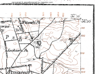 Reduced fragment of topographic map de--kdr--100k--E36--(1921)--N051-30_fE037-00--N051-15_fE037-30; towns and cities Piotrkow Trybunalski, Belchatow