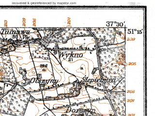 Reduced fragment of topographic map de--kdr--100k--E37--(1915)--N051-15_fE037-00--N051-00_fE037-30; towns and cities Radomsko