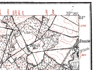 Reduced fragment of topographic map de--kdr--100k--E38--(1914)--N051-00_fE037-00--N050-45_fE037-30; towns and cities Koniecpol