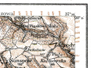 Reduced fragment of topographic map de--kdr--100k--E41--(1915)--N050-15_fE037-00--N050-00_fE037-30; towns and cities Trzebinia, Krzeszowice