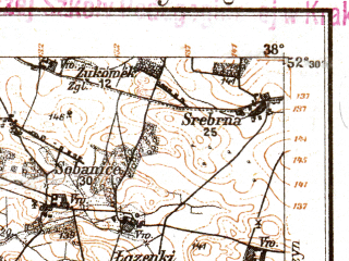 Reduced fragment of topographic map de--kdr--100k--F32--(1914)--N052-30_fE037-30--N052-15_fE038-00; towns and cities Wyszogrod, Kiernozia