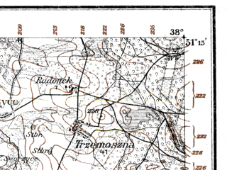 Reduced fragment of topographic map de--kdr--100k--F37--(1915)--N051-15_fE037-30--N051-00_fE038-00; towns and cities Przedborz, Zarnow