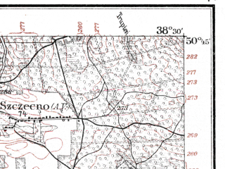Reduced fragment of topographic map de--kdr--100k--G39--(1915)--N050-45_fE038-00--N050-30_fE038-30; towns and cities Pinczow, Chmielnik