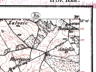 Reduced fragment of topographic map de--kdr--100k--H37--(1919)--N051-15_fE038-30--N051-00_fE039-00; towns and cities Starachowice, Skarzysko-kamienna, Ilza