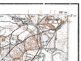 Reduced fragment of topographic map de--kdr--100k--J29--(1914)--N053-15_fE039-00--N053-00_fE039-30; towns and cities Ostroleka, Kadzidlo