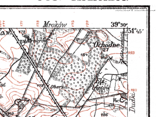 Reduced fragment of topographic map de--kdr--100k--J35--(1919)--N051-45_fE039-00--N051-30_fE039-30; towns and cities Kozienice, Maciejowice
