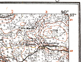 Reduced fragment of topographic map de--kdr--100k--K14--(1917)--N057-00_fE039-30--N056-45_fE040-00; towns and cities Kuldiga