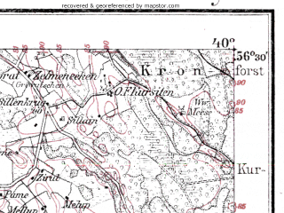 Reduced fragment of topographic map de--kdr--100k--K16--(1918)--N056-30_fE039-30--N056-15_fE040-00; towns and cities Vaynede