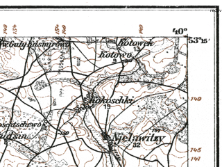 Reduced fragment of topographic map de--kdr--100k--K29--(1915)--N053-15_fE039-30--N053-00_fE040-00; towns and cities Lomza, Nowogrod, Sniadowo