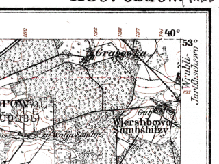 Reduced fragment of topographic map de--kdr--100k--K30--(1915)--N053-00_fE039-30--N052-45_fE040-00; towns and cities Ostrow Mazowiecka, Zambrow
