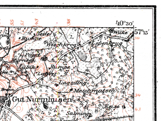 Reduced fragment of topographic map de--kdr--100k--L13--(1917)--N057-15_fE040-00--N057-00_fE040-30; towns and cities Talsy, Kandava, Sabile, Stende