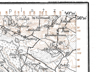 Reduced fragment of topographic map de--kdr--100k--L16--(1914)--N056-30_fE040-00--N056-15_fE040-30; towns and cities Akmyane, Mazheykyay, Ezere