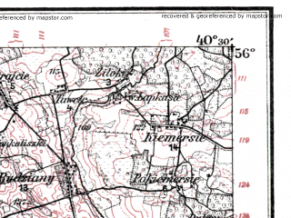 Reduced fragment of topographic map de--kdr--100k--L18--(1918)--N056-00_fE040-00--N055-45_fE040-30; towns and cities Uzhventis, Varnyay