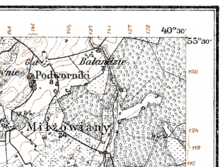 Reduced fragment of topographic map de--kdr--100k--L20--(1914)--N055-30_fE040-00--N055-15_fE040-30; towns and cities Skaudvile, Batakyay, Erzvilkas