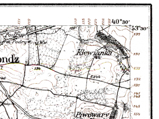 Reduced fragment of topographic map de--kdr--100k--L28--(1914)--N053-30_fE040-00--N053-15_fE040-30; towns and cities Monki