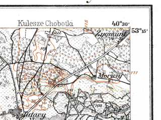 Reduced fragment of topographic map de--kdr--100k--L29--(1914)--N053-15_fE040-00--N053-00_fE040-30; towns and cities Tykocin, Wizna