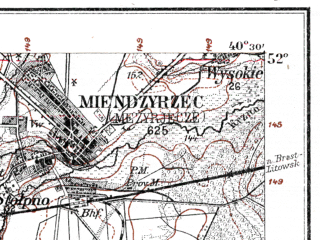 Reduced fragment of topographic map de--kdr--100k--L34--(1914)--N052-00_fE040-00--N051-45_fE040-30; towns and cities Lukow, Miedzyrzec Podlaski, Radzyn Podlaski