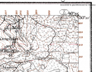 Reduced fragment of topographic map de--kdr--100k--L40--(1915)--N050-30_fE040-00--N050-15_fE040-30; towns and cities Lezajsk, Tarnogrod