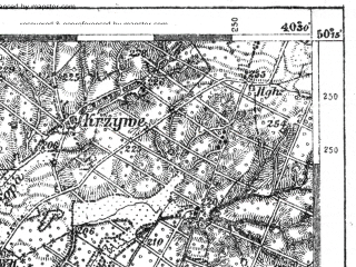 Reduced fragment of topographic map de--kdr--100k--L41--(1916)--N050-15_fE040-00--N050-00_fE040-30; towns and cities Jaroslaw, Przeworsk